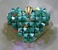 Oz Swarovski Crystal Handmade Heart Green Bling by HandmadeJILLry, $40.00
