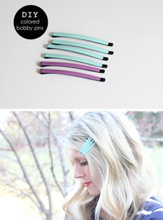 paint bobby pins with 2 coats of nail polish to add a pop of color!