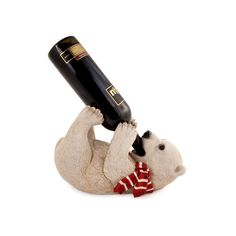 Frolicking Polar Bear Single Wine Bottle Holder ($37) ❤ liked on Polyvore featuring home, kitchen & dining, bar tools, wine bottle holder and wine holder