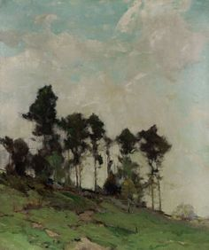 LOVE… Chauncey Foster Ryder - Hillside with Trees | From a unique collection of landscape paintings at http://www.1stdibs.com/art/paintings/landscape-paintings/
