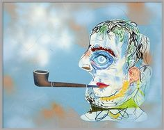 This Is Not A Man With A Pipe, 2014 / mixed media on paper / x inches Modern Art, Contemporary Art, Figurative Art, Brother, Art Gallery, Fine Art, Artist, Anime, Mixed Media