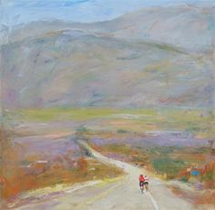 Buy Original Art by Dina Volkova   oil painting   Cyclists on the Road at UGallery