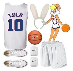 """Lola Bunny Halloween Costume"" by kirrky ❤ liked on Polyvore featuring Converse, NIKE, Halloween, lolabunny and spacejam"