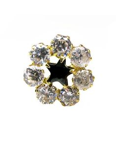 Charming White&Black CZ Piercing Nose stud Pin Solid Real 14k Yellow Gold