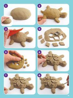 : Super SANDsational Ideas - kids crafts crafts for kids etc - Dover Publications Sand Play ! Clay Projects For Kids, Clay Crafts For Kids, Kids Clay, Garden Projects, Air Dry Clay Crafts, Clay Turtle, Ceramic Turtle, Ceramic Animals, Clay Animals