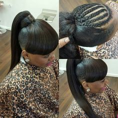 Ponytail with bang Weave Ponytail Hairstyles, Ponytail Styles, Braid Styles, Pretty Hairstyles, Girl Hairstyles, Summer Hairstyles, Bangs Ponytail, Updo Hairstyle, Unique Hairstyles