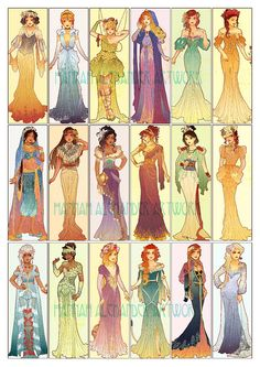 disney princess A poster featuring my completed set of Disney Princesses redesigned in an Art Nouveau style. This poster is professionally printed without watermarks onto matte finishe Disney Princess Fashion, Disney Princess Drawings, Disney Princess Art, Disney Fan Art, Disney Drawings, Cute Drawings, Disney Anime Style, Flame Princess, Punk Disney