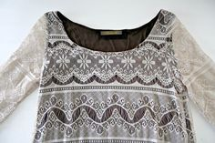Fashion Elle Brown Cream Lace Tunic Top Size T1 (Small/Medium) #FashionElle #Tunic