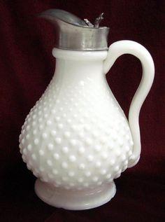 Vintage Hobnail   Antique Milk Glass Hobnail Syrup Pitcher