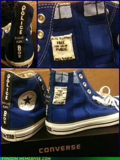 My 2 most favorite things: Doctor Who & Converse rolled into Tardis Converse!