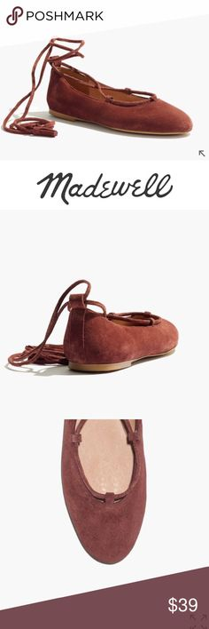NWB Madewell tassel lace up suede round toe flats Mew with box. Madewell inga suede tassel tipped lace up flats. Suede upper. Leather lining. Man made sole. Canterbury red color Madewell Shoes Flats & Loafers