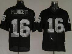 NFL Oakland Raiders #16 PLUNKETT Black M&N Jersey
