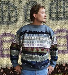 . . . Kaislakerttu Lehtovaara - Maalauksia . . .: Neuleet Fair Isle Knitting Patterns, Christmas Sweaters, Knitwear, Knit Crochet, Graphic Sweatshirt, Sweatshirts, Fair Isles, Beauty, 3