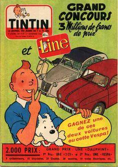 Renault Daupine & Citroën 2CV publicité Tintin magazine
