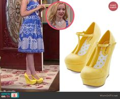 Liv's yellow wedges on Liv and Maddie.  Outfit Details: http://wornontv.net/46603/ #LivandMaddie