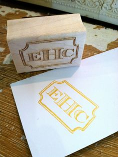 Custom Monogram Stamp with Border - size would lend easily to stamping the front of a plain notecard. Monogram Design, Monogram Fonts, Monogram Initials, Monogram Keychain, Silhouette Mint, Stationery Paper, Tool Design, Paper Goods, Hand Carved