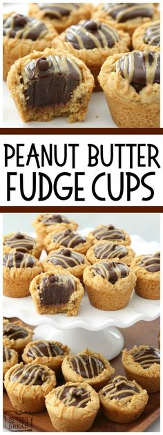 Peanut Butter Fudge Cups are peanut butter cookies filled with a simple chocolate fudge! Delicious flavor combination in these amazing treats from Butter With A side of Bread (chocolate dessert in a cup) Köstliche Desserts, Delicious Desserts, Dessert Recipes, Candy Recipes, Holiday Desserts, Holiday Cookies, Plated Desserts, Recipes Dinner, Easy Chocolate Fudge