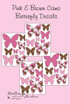 Pink and Brown Camo Butterfly wall art decals for teen girls camouflage room theme, baby nursery, or any childrens room decor #decampstudios
