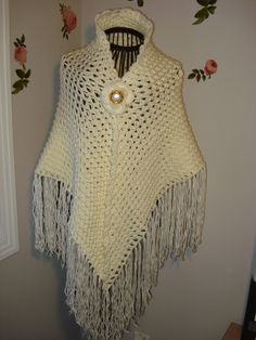 Handmade Crochet Ivory Lace Cover Up Bridal Wedding 3D Shawl Pattern Available just convo me/ SCARF/SHAWL/ Bridal Accessories, All Seasons by ufer on Etsy