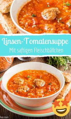 Lentil and tomato soup with meatballs-Linsen-Tomatensuppe mit Fleischbällchen Tomato soup with juicy meatballs - Crockpot Recipes, Soup Recipes, Dinner Recipes, Healthy Recipes, Meatball Soup, Meatball Recipes, Soup Kitchen, Tomato Soup, Lentils