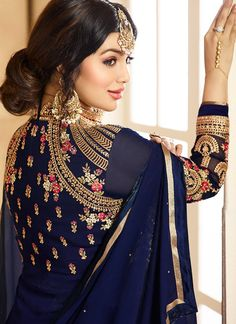 Blue Embroidered Georgette Anarkali Suit features a beautiful georgette anarkali alongside a santoon inner and bottom. Embroidery work is completed with zari, thread, and stone. Abaya Fashion, Indian Fashion, Fashion Outfits, Women's Fashion, Fasion, Indian Dresses, Indian Outfits, Indian Clothes, Kurta Designs