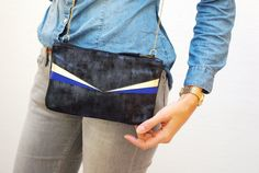 Blue black leather small bag night, gold and blue sky or electric blue string gold {bag evening geometric chic elegant Pocket zip}