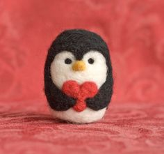 Needle Felted Penguin - Valentine Heart by scratchcraft on Etsy https://www.etsy.com/listing/119023291/needle-felted-penguin-valentine-heart