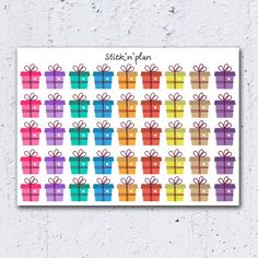 48 Bright Birthday Stickers Party Stickers by SticknPlanshop
