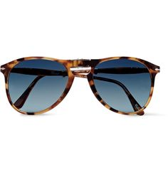 Embodying <a href='http://www.mrporter.com/mens/Designers/Persol'>Persol</a>'s innovative, detail-driven design ethos, these aviator-style sunglasses have been constructed by hand and can cleverly fold into a compact shape. They're made from durable acetate and fitted with polarised blue-grey lenses to reduce glare and provide full UV protection.