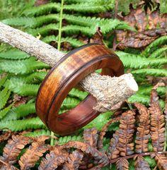 Bordered Koa Bangle Bracelet by UpcountryDesign on Etsy, $75.00