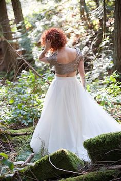 Wedding dress separates: sequins crop top and tulle skirt | Jarusha Brown Photography | see more on: http://burnettsboards.com/2014/06/rocker-chic-girlie-sequins/