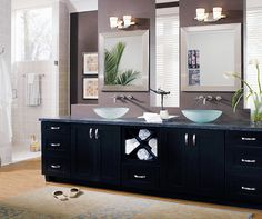 black bathroom cabinets with double sink