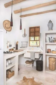 Kitchen Interior Design Love white and wood Rustic kitchen design - A boho-chic Airbnb on Mexico's charming Holbox Island, Casa Impala mixes splendid rustic aesthetics with a sense of comfort. Rustic Kitchen Design, Home Decor Kitchen, Interior Design Kitchen, Home Kitchens, Decorating Kitchen, Rustic Chic Kitchen, Kitchen Ideas, Farmhouse Kitchens, Modern Kitchens