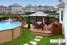 Nothing goes better with a pool than a patio built by Patio Design inc. Patio bring vacations life to your decor and improve your comfort. Above Ground Pool Landscaping, Above Ground Pool Decks, Backyard Pool Landscaping, Backyard Patio Designs, Backyard Retreat, Landscaping Jobs, Oberirdischer Pool, Swimming Pools Backyard, Lap Pools
