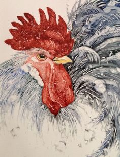 By Mark Jones- amazing black and white detail in background: Watercolor Bird, Watercolor Animals, Watercolor Paintings, Rooster Painting, Rooster Art, Chicken Painting, Chicken Art, Chickens And Roosters, Pet Chickens