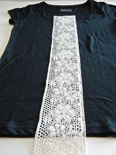 DIY lace shirt, sewing, refashion, t-shirt Diy Clothing, Sewing Clothes, Refashioning Clothes, Thrift Clothes, Clothes Refashion, Diy Lace Shirt, Lace Tee, T-shirt Refashion, Sweater Refashion