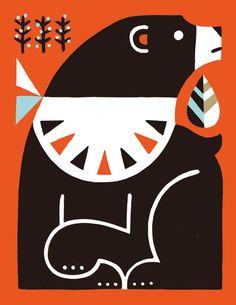 Animal 04 by Shunsuke Satake Old Children's Books, Indian Folk Art, Retro Illustration, Naive Art, Animal Logo, Diy Arts And Crafts, Geometric Art, Animal Design, Pattern Art