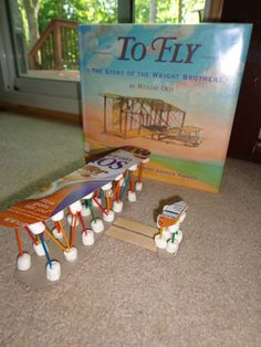 To celebrate Wendie Old's birthday, June 20, we read To Fly: The Story of the Wright Brothers.  Then, we made a Wright Flyer out of a cereal box, mini marshmallows, toothpicks, tongue depressors, and glue.