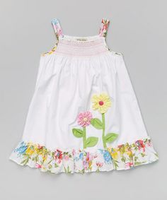 Look at this White Smocked Floral Dress - Toddler & Girls on today! Regardez cette robe à fl Toddler Girl Dresses, Little Girl Dresses, Toddler Outfits, Toddler Girls, Frock Design, Toddler Fashion, Kids Fashion, Trendy Fashion, Fashion Outfits