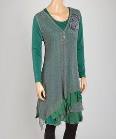Look at this #zulilyfind! Teal Layered Linen-Blend Handkerchief Tunic by Pretty Angel #zulilyfinds