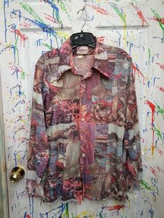 Generic Mens Classic Retro Military Camouflage Long Sleeve Button Down Shirt