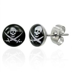 Urban Male Stainless Steel Pirate Skull & Crossbone Stud Earrings 7mm by Urban Male -- Awesome products selected by Anna Churchill