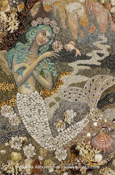 ♒ Mermaids Among Us ♒ art photography & paintings of sea sirens & water maidens - Seashell wall mosaic, an acrylic painting, by Marina Alexandrova. Mosaic Art, Mosaic Glass, Pebble Mosaic, Pebble Art, Sirens, Sicis Mosaic, Sea Siren, Mermaids And Mermen, Fantasy Mermaids