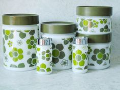 Anchor Hocking Pop Art Glass Canister Set - Retro Glass Canisters - Retro Kitchen Canisters - Glass Retro Canisters.  via Etsy.