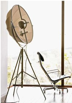 This is Fortuny floor lamp. I think it will look good in an office space.