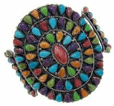 Multicolor And Turquoise Sterling Silver Cuff Bracelet BW70157 SilverTribe. $359.99