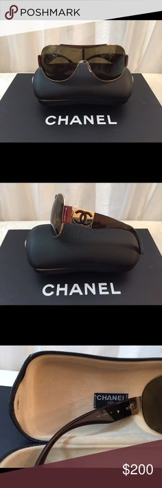 Chanel Logo Sunglasses Authentic Chanel Brown Sunglasses, Gold frame, signature stamp in both sides, frames in perfect condition, comes with original case CHANEL Accessories Sunglasses
