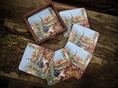 Wooden decoupage coasters Wood Home Decor, House In The Woods, Decoupage, Coasters, Frame, Picture Frame, Frames, A Frame, Picture Frames