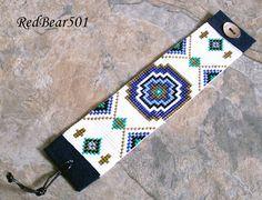 Loom Bracelet, Native American, Southwestern, Handmade Jewelry, Original, Wide Bracelet, Seed Bead Bracelet