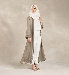 Grey Golden Leaf Kimono - £94.99 : Inayah, Islamic Clothing & Fashion, Abayas, Jilbabs, Hijabs, Jalabiyas & Hijab Pins
